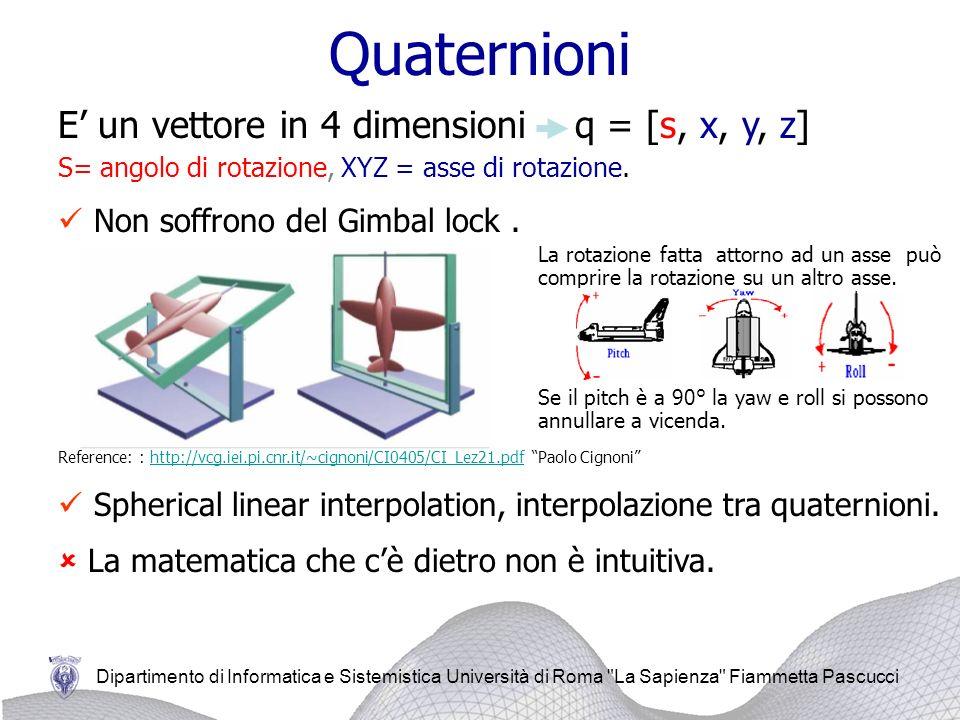 Quaternioni E' un vettore in 4 dimensioni q = [s, x, y, z]